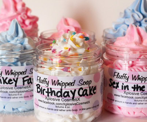 pink, soap, and cake image
