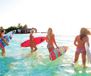 paradise, summer, and surfing image