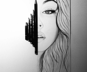 beautiful, draw, and face image