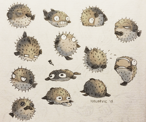 drawing, funny, and pufferfish image