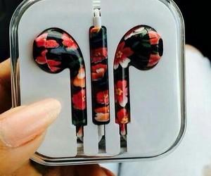 flowers, headphones, and music image