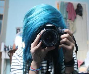 bedroom, blue, and blue hair image