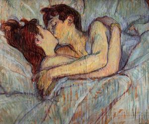 art, bed, and kiss image