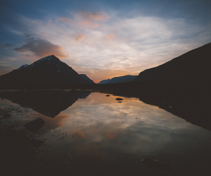 dawn, lake, and landscape image