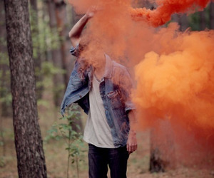 boy, orange, and smoke image