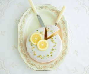 cake, white, and lemon image