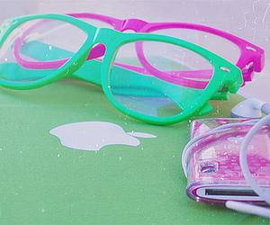 glasses, apple, and pink image