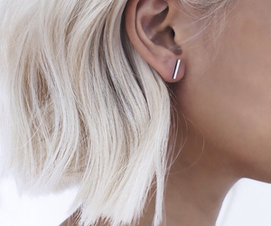 hair, earrings, and white image