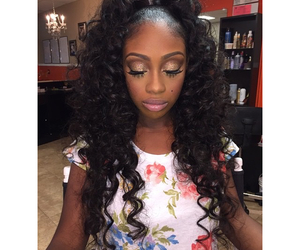 beautiful, curly, and weave image