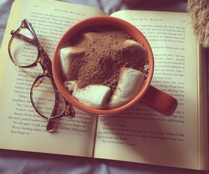book, glasses, and reading image