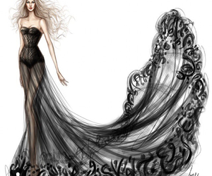 black, drawing, and dress image