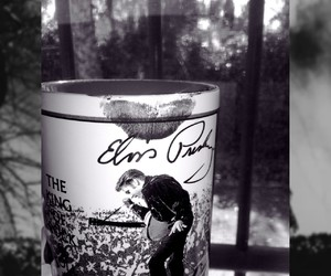 black and white, cofee, and Elvis Presley image