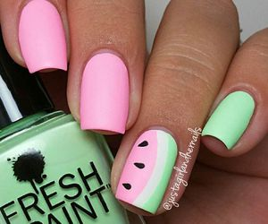 nails, watermelon, and pink image