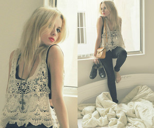 black pants, blonde, and crochet image