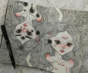 art, black and while, and boho image