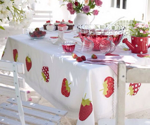 dinner, party, and strawberry image