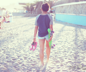 beach, girl, and little sister image
