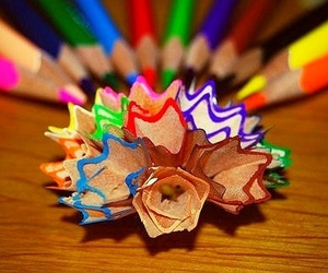 bright, colourful, and pencil shavings image