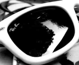 black and white, ray bans, and sunglasses image