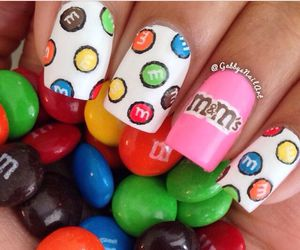 nails, chocolate, and m&m's image