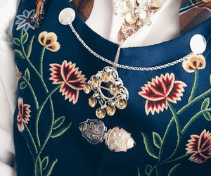 blue, dress, and flowers image