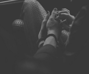 black & white, couple, and holding hands image