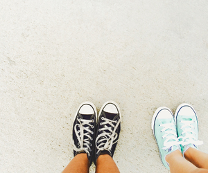 best friends, black and white, and converse image
