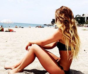 beach, bikini, and curly image