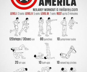 fitness, captain america, and exercise image