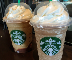adore, couple, and starbucks image
