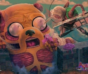 adventure time, JAKe, and attack on titan image