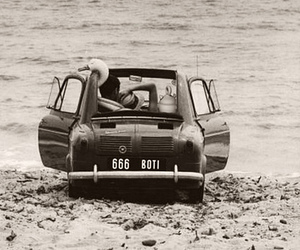 couple, black and white, and car image