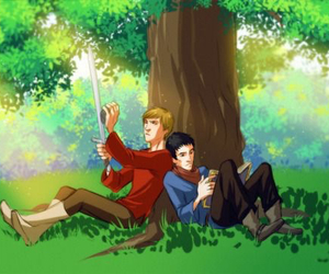 merlin, arthur pendragon, and the adventures of merlin image