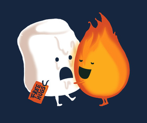 cute, fire, and marshmallow image