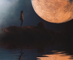 art, full moon, and photography image