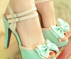 pastel colors, polka dots, and pretty shoes image