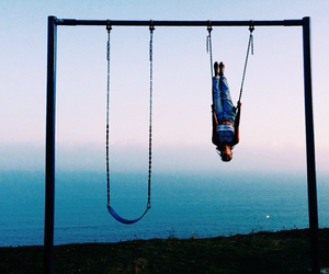 swing, sky, and sea image