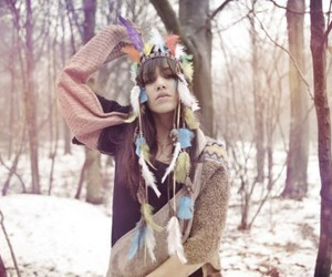 feathers, girl, and winter image