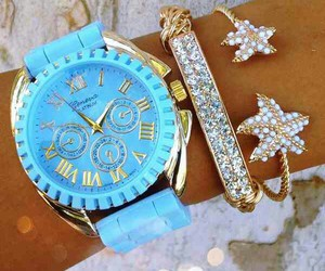 watch, accessories, and blue image