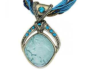 pendant necklace, blue necklaces, and young & forever image