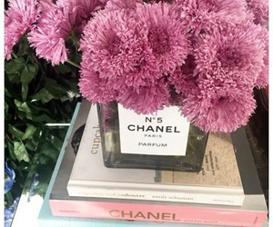 pink flowers, chanel books, and chanel vases image