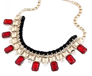 necklace, gold necklaces, and red necklace image