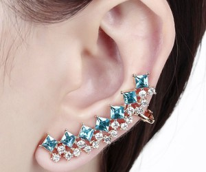 gold ear cuff, cubic zirconia ear cuff, and rhinestone ear cuff image