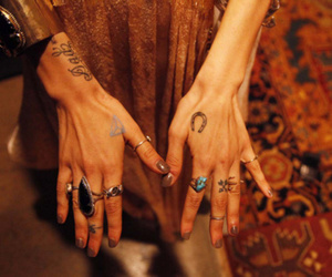 tattoo, hands, and rings image