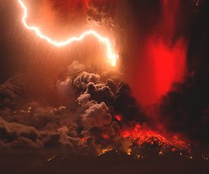 red, storm, and volcano image
