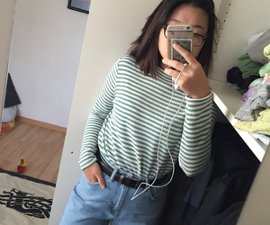jeans, striped shirt, and vintage image