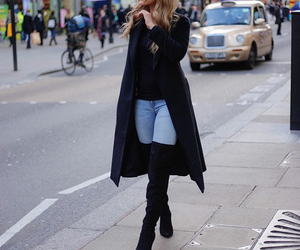 classy, tall boots, and city fashion image