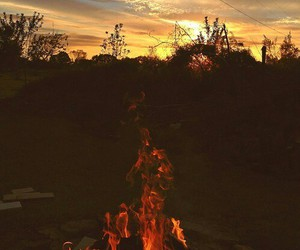 fire, camping, and vintage image