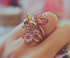 ring, flowers, and pink image