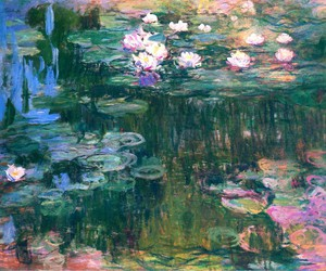 art, flowers, and claude monet image
